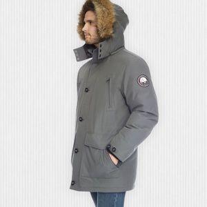 New AlpineTek Grey Down Filled Hooded Parka M